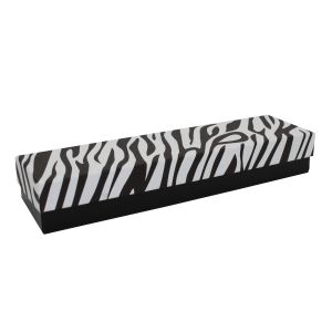 "Zebra Patterned Jewelry Boxes, 8"" x 2"" x 1"""