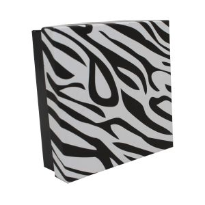"Zebra Patterned Jewelry Boxes, 3"" x 3"" x 1"""
