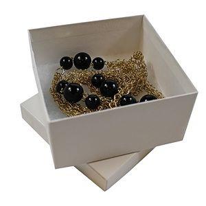 "White Swirl Jewelry Boxes, 3-1/2"" x 3-1/2"" x 1-7/8"""