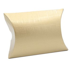 """Pillow Pack, Matte Gold Linen Gift Box, 2.75"""" x 2.75"""" x 1"""""""