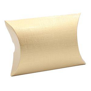 """Pillow Pack, Matte Gold Linen Gift Box, 3-3/8"""" x 3-3/8"""" x 1-1/8"""""""