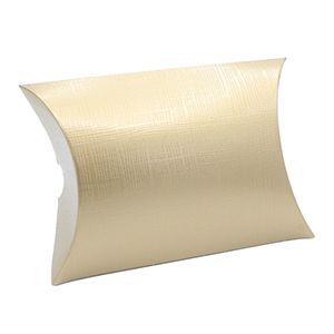 """Pillow Pack, Matte Gold Linen Gift Box, 4"""" x 4"""" x 1-3/8"""""""