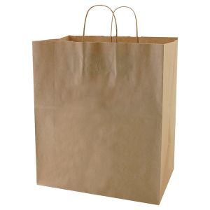 "Recycled Natural Kraft Paper Shopping Bags, 14-1/2"" x 9-1/2"" x 16-1/4"" (Super Royal)"