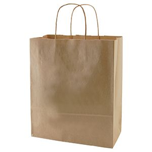 """Recycled Natural Kraft Paper Shopping Bags, 10"""" x 7"""" x 12"""""""