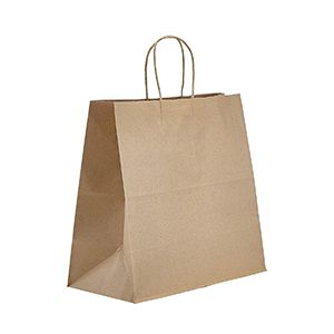 """Recycled Natural Kraft Paper Shopping Bags, 13"""" x 7"""" x 13"""" (Filly)"""