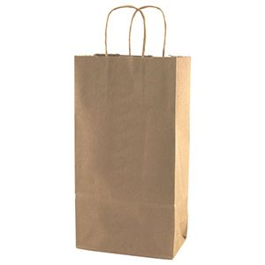 """Recycled Natural Kraft Paper Shopping Bags, 8"""" x 4.75"""" x 13-5/8"""""""