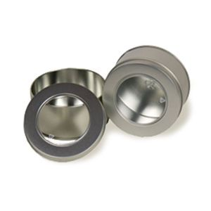 """Solid Tins with Clear Window, 4"""" Round"""