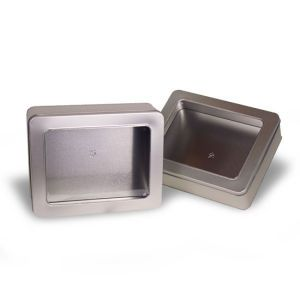 """Solid Tins with Clear Window, 10"""" x 8"""" x 3"""""""