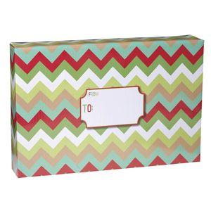 "Mailing Boxes, Large Christmas Chevron, 18"" x 12"" x 3"""