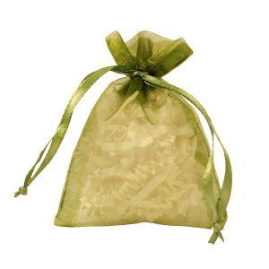 """Flat Organza Bags, Olive, 3"""" x 4"""""""