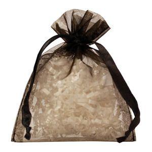 """Flat Organza Bags, Black, 4"""" x 5"""""""