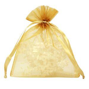 "Flat Organza Bags, Gold, 4"" x 5"""