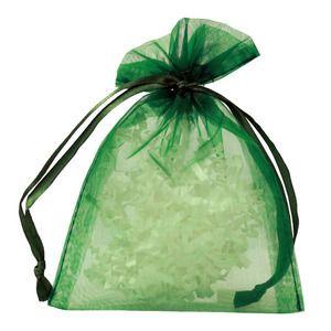 "Flat Organza Bags, Hunter Green, 4"" x 5"""