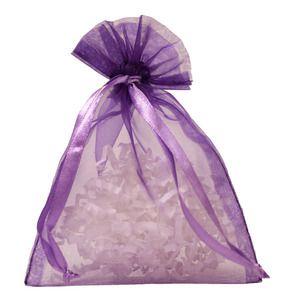"""Flat Organza Bags, Purple, 4"""" x 5"""""""