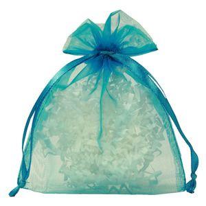 "Flat Organza Bags, Turquoise, 4"" x 5"""