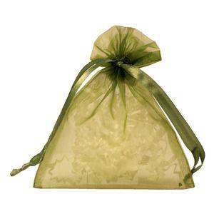 """Flat Organza Bags, Olive, 4"""" x 5"""""""