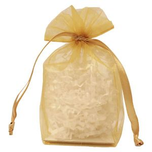 "Gusseted Organza Bags, Gold, 4"" x 6"""