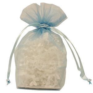 "Gusseted Organza Bags, Light Blue, 4"" x 6"""