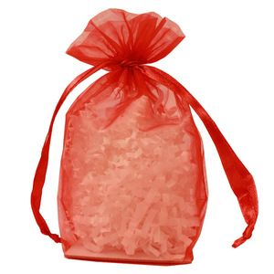 "Gusseted Organza Bags, Red, 4"" x 6"""