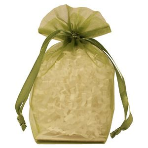 "Gusseted Organza Bags, Olive, 4"" x 6"""