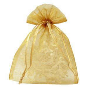 "Flat Organza Bags, Gold, 5"" x 6"""