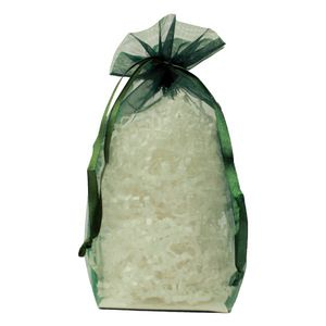 "Gusseted Organza Bags, Hunter Green, 6"" x 9"""