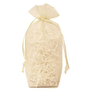 "Gusseted Organza Bags, Ivory, 6"" x 9"""