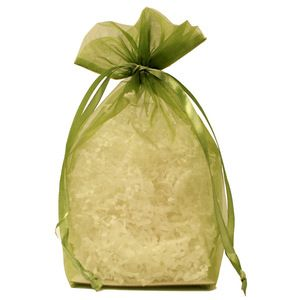 "Gusseted Organza Bags, Olive, 8"" x 10"""