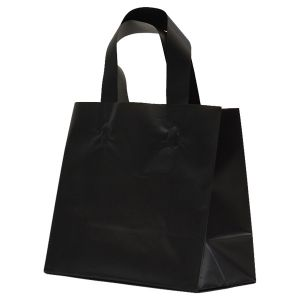 """Black Frosted Shoppers with Loop Handles, 8"""" x 4"""" x 7"""" x 4"""""""
