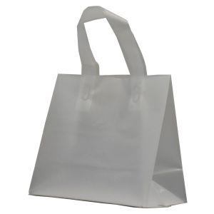 """Clear Frosted Shoppers with Loop Handles, 8"""" x 4"""" x 7"""" x 4"""""""