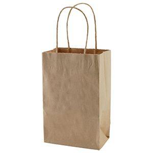 "Recycled Natural Kraft Paper Shopping Bags, 5-1/2"" x 3-1/4"" x 8-3/8"" (Gem)"