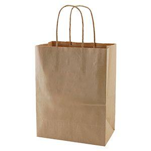 "Recycled Natural Kraft Paper Shopping Bags, 8"" x 4-3/4"" x 10-1/2"" (Cub)"