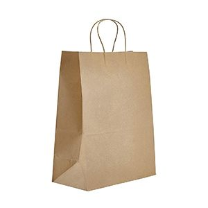 """Recycled Natural Kraft Paper Shopping Bags, 13"""" x 7"""" x 17"""""""