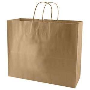 """Recycled Natural Kraft Paper Shopping Bags, 16"""" x 6"""" x 13"""" (Vogue)"""