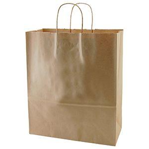 "Recycled Natural Kraft Paper Shopping Bags, 13"" x 6"" x 15-3/4"" (Senior)"