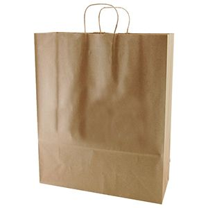 """Recycled Natural Kraft Paper Shopping Bags, 16"""" x 6"""" x 19"""" (Queen)"""