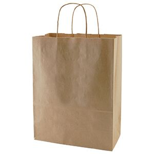 """Recycled Natural Kraft Paper Shopping Bags, 10"""" x 5"""" x 13"""" (Missy)"""