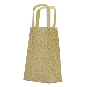 """Leopard, Pattern Frosted Shoppers with Handles, 5"""" x 3"""" x 8"""" x 3"""""""