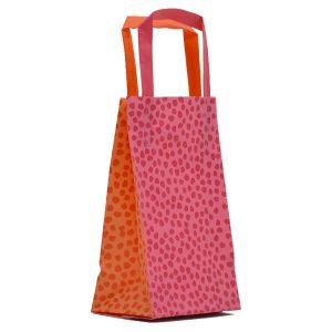 """Orange & Pink Mosaic, Pattern Frosted Shoppers with Handles, 5"""" x 3"""" x 8"""" x 3"""""""