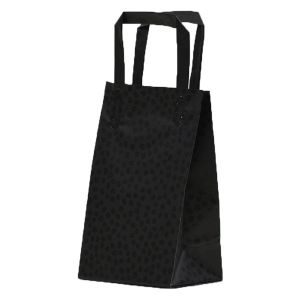 """Black Mosaic, Pattern Frosted Shoppers with Handles, 5"""" x 3"""" x 8"""" x 3"""""""