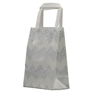 """Chevron, Pattern Frosted Shoppers with Handles, 5"""" x 3"""" x 8"""" x 3"""""""