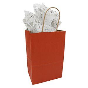 "Burnt Orange, Small Paper Shopping Bags, 5-1/2"" x 3-1/4"" x 8-3/8"" (Gem)"