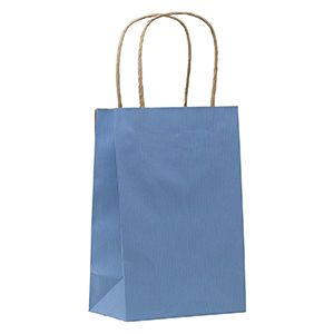"""French Country Blue, Small Shadow Stripe Paper Shopping Bags, 5-1/2"""" x 3-1/4"""" x 8-3/8"""" (Gem)"""