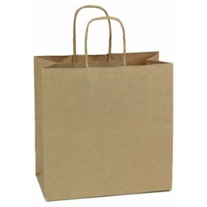 """Recycled Natural Kraft Paper Shopping Bags, 10"""" x 5"""" x 10"""" (Square)"""