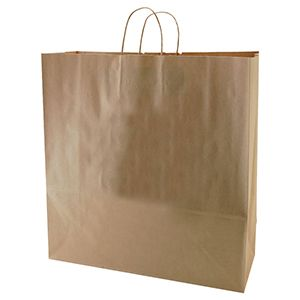 "Recycled Natural Kraft Paper Shopping Bags, 18"" x 7"" x 18"" (Jumbo)"