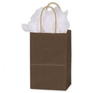 """Espresso, Small Recycled Paper Shopping Bags, 5-1/2"""" x 3-1/4"""" x 8-3/8"""" (Gem)"""