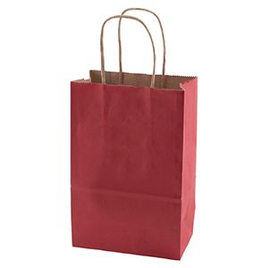 """Scarlet, Small Recycled Paper Shopping Bags, 5-1/2"""" x 3-1/4"""" x 8-3/8"""" (Gem)"""