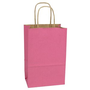 "Pink, Small Shadow Stripe Paper Shopping Bags, 5-1/2"" x 3-1/4"" x 8-3/8"" (Gem)"