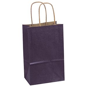"""Purple, Small Recycled Paper Shopping Bags, 5-1/2"""" x 3-1/4"""" x 8-3/8"""" (Gem)"""