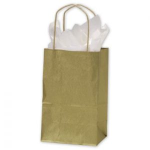 """Gold, Small Recycled Paper Shopping Bags, 5-1/2"""" x 3-1/4"""" x 8-3/8"""" (Gem)"""